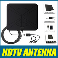 Wholesale flat hdtv - Digital HDTV Antenna HDTV Digital Signal Receiver 1080P Amplified Flat 50 Mile Ultra Thin Indoor Detachable Channel Singal Reception 20pcs
