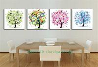 moderne kunstsaison großhandel-Vier Jahreszeiten Bäume, 4 Stück Home Decor HD gedruckt moderne Kunst Malerei auf Leinwand (ungerahmt / gerahmt)