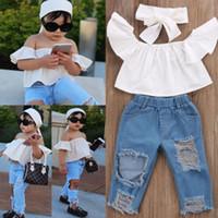 Wholesale korea girls style - Vieeolove Korea Kids Clothing 2Sets Girls 2018 New Summer Shoulder-straps cotton Floral T-shirts + Jeans Pants 2 sets VL-962