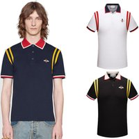 Wholesale Polo V Neck Tees - Cotton designer T-shirts Embroidered Collar Bee Italy Brand Stripes Polo t shirts Mens Slim tee shirts Fashion Lapel Short Sleeve poloshirts
