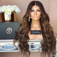 longa ombre peruca humana natural venda por atacado-100% não transformados remy virgem beleza ombre cor do cabelo humano longo onda natural peruca cheia do laço para as mulheres