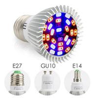Wholesale e14 plant - 28W E27 GU10 E14 Led Grow Bulb Light 28 LEDs SMD 5730 LED Grow Light Hydroponic Plant Full Spectrum Lamp AC 85-265V