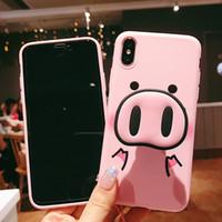 ingrosso casi di maiale-Caso di moda rosa carino per iPhone X 7 Plus XS Caso di silicone Custodia in silicone per iPhone 6S 8 6 Plus XS Max Caso di maiale cordino
