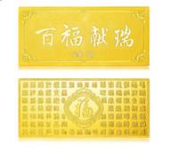Wholesale fake money for sale - 50g copper made gold plating present sample bullion gift fake golden bar gold collection souvenir art craft ornament decoration