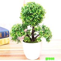 Wholesale fake plants trees - wedding decorative flowers wreaths Artificial flower Trigeminal potted bonsai fake flower plant pine trees free shipping