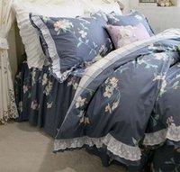 ingrosso set di jilt floreali blu-Romantico pastorale floreale blu set di biancheria da letto ragazza adulta, doppia pieno re regina del cotone tessili per la casa gonna gonna federa copertura trapunta