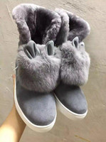 Wholesale Hair Style Designer - New Style 2018 Women Luxury Brand Designer Boots Rabbit Hairs Shoes Warm Snow Boots Ankle Boots Flat Casual Shoes Size 34-40