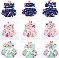 Wholesale bunny diaper for sale - Group buy INS Summer baby Cotton Floral Girls Bloomer Set Green Ruffle Newborn Diaper Cover matching bunny Headband Set Baby Shorts years