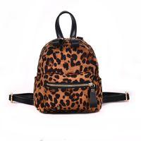 sacos de escola do leopardo das meninas venda por atacado-Nova Leopardo Senhora Mochila 2018 Mini Mochila Bonito para Meninas Adolescentes Saco de escola feminina Esfregar Tendência Ocasional Pu Saco Feminino Sca
