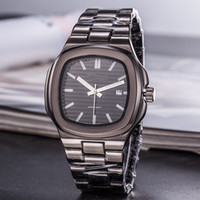 siyah kare erkek saatleri toptan satış-Lüks Mens İzle Marka Otomatik Tarih Siyah Saatler Kare Dial Paslanmaz Çelik Kuvars Saatı Saat Hediyeler Erkek Saatleri Reloj