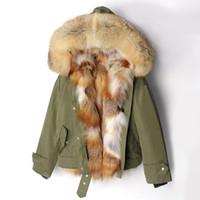 piel de zorro plateado real al por mayor-2018 Nueva chaqueta de invierno abrigo de las mujeres Parka corto real Silver Fox Fur Liner cuello de piel de mapache capucha desmontable 3 en 1 prendas de abrigo