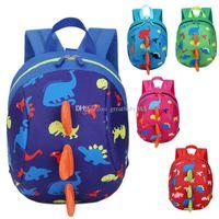 Wholesale fabric harness - 5 Colors Kids Safety Harness Backpack Leash Child Toddler Anti-lost Dinosaur Backpack Cartoon Arlo Kindergarten Backpacks C3289