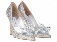 обувь большие кристаллы оптовых-Высший сорт Золушка хрустальные туфли Свадебные стразы Свадебные туфли с цветком из натуральной кожи большой маленький размер35 до 40