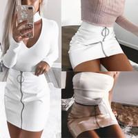Discount women long stretch maxi dresses - 2017 New Fashion Skirt Women White PU Leather Pencil High Waist Mini Short Skirt Sexy Zipper Bodycon Skirt Stretch Party Clothes D1891705