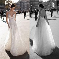 Wholesale halter neck vintage wedding dress - 2018 Sexy Backless Wedding Dresses A Line Halter Neck Lace Appliques Sequins Bridal Gowns Plus Size Wedding Dress