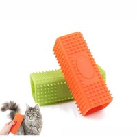 Wholesale Puppy Orange - Square Silicone Puppy Depilation Comb Convenient Eco Friendly Pet Hair Remover Brush Easy To Use Dog Grooming Tools Green Orange 9sh T