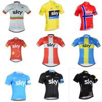 Wholesale Sky Tour France Jersey - 2018 Team Sky Cycling Jerseys Quick Dry Breathable Tour De France mtb bicycle Shirt High Quality Short Sleeves mountain Bike Tops C2401