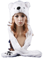 Wholesale hat gloves mittens - 2017 Hot sale Fashion Cartoon animal Lovely cute fluffy Polar Bear Hat cap with mitten Muffler,white pink brown Free Shipping