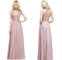 Wholesale fashion runway - Real Pictures Blush Pink Long Evening Dresses V Neck Beaded Lace Appliqued Chiffon Cheap Bridesmaid Party Prom Gowns CPS912