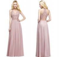 Wholesale carpet cheap - Real Pictures 2018 Blush Pink Long Evening Dresses V Neck Beaded Lace Appliqued Chiffon Cheap Bridesmaid Party Prom Gowns CPS912