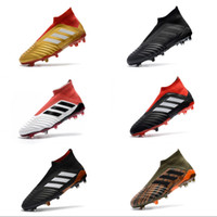 Wholesale hot men sock soccer - Wholesale Adidas Mens Football Boots Predator 18+ FG High Top Socks Soccer Cleats Cheap Soccer Shoes New Hot Sport Sneakers Size 39-45