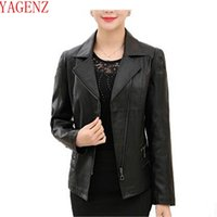 Wholesale Middle Age Women Clothing - YAGENZ2017 Middle-aged and old Women clothing Fashion New Leather the spring coat Han edition Large size PU leather jacket KG448