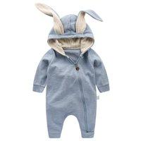 детские комбинезоны с капюшоном оптовых-Симпатичные уха кролика с капюшоном Baby Rompers Для маленьких детей Мальчики Девочки Детская одежда Одежда для новорожденных Комбинезон для новорожденных костюм младенца техники спальные мешки