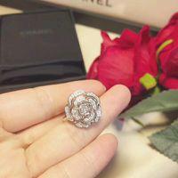 s logo diamond großhandel-Kamelie Ringe S925 Sterling Silber RING Marke logo Frauen Party Hochzeit Diamant Ringe Luxus Charme Valentinstag Schmuck