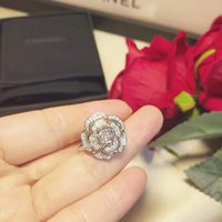 jóia da camélia venda por atacado-Mulher Prata Esterlina 925 Anéis de Luxo Da Festa de Casamento das Mulheres Anéis de Camélia de Diamante de Noivado de Camélia