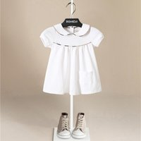 Wholesale 3t petal dress for sale - Group buy Hot Sales Pure Cotton Girl Solid Dress Lovely Plaid Children Fashion Casual Turn Down Collar Child Princess Dress