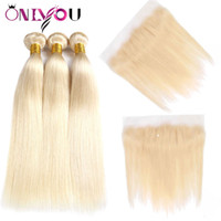 Wholesale bundles russian hair resale online - Onlyou Brazilian Virgin Hair Blonde Bundles with Frontal Top Lace Lace Frontal and Bundles Straight Human Hair Bundles Closure