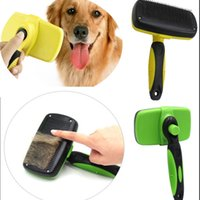 Wholesale plastic bath cleaner - Pet Grooming Brush Comb Dog Cat Self Remove Cleaning Slicker Brush Pet Long Hair Bath Clean UP Tool Accessories HH7-1265
