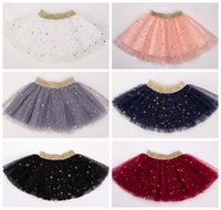 Wholesale pleated waistband - 2018 girls star sequin skirts tulle skirts baby girl clothes gold waistband pettiskirts kids glitter tutus childrens tutu skirt wholesale