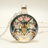 Wholesale Glass Eyes For Jewelry - 12pcs lot Cute Cat Glass Necklace for women Silver Chain Fashion Style Neck Cartoon Cat Eye Glass Pendants Jewelry Bijouterie