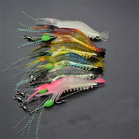 ingrosso incandescenza morbida baits-Gamberetti Soft Lure 8cm / 5g Fishing Esca Artificiale con Glow Hook Swivels Anzois Para Pesca Sabiki Rigs Angle Lure Fishhook 1 9zz Z