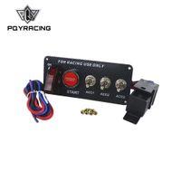 interruptor de palanca de 12v led al por mayor-PQY RACING - Arranque del botón de encendido LED Toggle Racing Fiber Carbon 12V LED Interruptor de encendido Panel Motor PQY-QT313