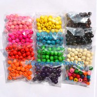 Wholesale wood beads bracelet accessories for sale - 100pcs DIY fashion jewerly accessory MM wood beads round bead bracelet accessory colors