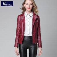 Wholesale Red Faux Leather Jacket Women - PU Leather Jacket 2018 autumn new high Fashion street hot style Women PU Leather Short Motorcycle Jacket Outerwear top quality