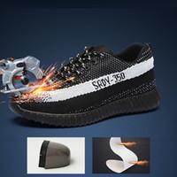 weben stiefel großhandel-Sicherheitsschuhe Prävention Schuhe Fly Webart Arbeits ein pannensicher Baotou Steel Männer Stiefel getroffen