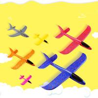 modelos de aviones al por mayor-48 cm Espuma que lanza planeador Modelo Avión de aire Inercia Avión Juguete Lanzamiento a mano Modelo de avión Para deslizar el avión Juguete volador para niños Regalo