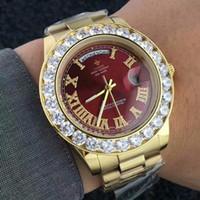 ingrosso orologi di grande donna-Big Diamond Luxury Brand Orologio in oro da uomo in acciaio inossidabile Day-Date da donna Orologio da polso Presidente Top Orologio maschile relogio masculino