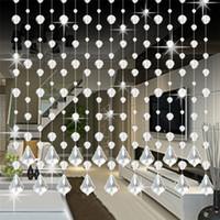 dekor cam kapısı toptan satış-Ouneed Kristal Cam Boncuk Perde Lüks Oturma Odası Yatak Odası Pencere Kapı Düğün Dekor Kristal Perde Damla nakliye 80201