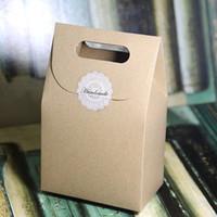 caixa de papelão venda por atacado-Caixa de Papel de presente com Lidar Com Favor Do Partido Artesanato Doces Padaria Biscoitos Biscoitos Embalagem Caixas De Papelão 50 pçs / lote
