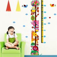 sticker mural de croissance en hauteur achat en gros de-Hibou Cartoon Hauteur Sticker Mural Chambre Maternelle Art Décor Translucide Pvc Autocollants Garçons Filles Croissance Animaux Colorés Imprimer 2 2hm jj