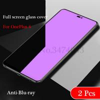 ingrosso bicchieri temperati blu-2Pcs Vetro temperato di alta qualità per Oneplus 6 Screen Protector 9H 2.5D Occhiali di protezione per OnePlus 6 Glass Oneplus6 Anti-Blu
