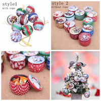 Wholesale christmas gifts case for sale - Group buy Christmas candy box wedding Decoration iron candy box Santa snowman ball candy case round tinplate gift box Party Favor GGA849