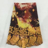 Wholesale african brocade fabric - African getzner brocade bazin riche high quality tie-dyed fabrics cotton bazin tiche lace fabric for men cloth 5yard lot GD94