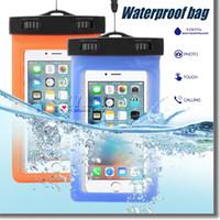 ingrosso casi universali per il telefono blu-Custodia impermeabile Custodia impermeabile in PVC Custodia universale protettiva per telefono con custodia da bussola per nuoto subacqueo per smartphone fino a 5,8 pollici