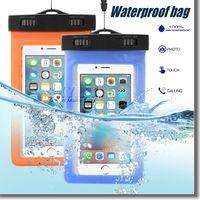 iphone schwimmen fall großhandel-Packsack Wasserdichte Tasche PVC-Schutzhülle Universal-Handytasche Tasche mit Kompass Taschen zum Tauchen Schwimmen für Smartphone bis zu 5,8 Zoll