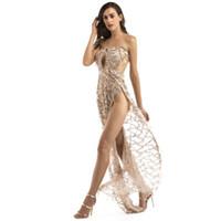 пинает одежду оптовых-2018 новая мода кисточкой блесток платье без бретелек спинки удар складки элегантный дамы платье женская одежда sexy banquet party Dress vestidos